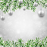 Christmas background with fir branches and balls. Christmas background with fir twigs and silver balls. Vector illustration Royalty Free Stock Photo