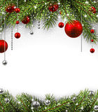 Christmas background. With fir branches and balls. Vector illustration stock illustration