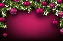 Christmas background. With fir branches and balls. Vector illustration Stock Photos