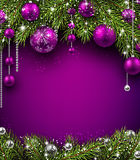 Christmas background. With fir branches and balls. Vector illustration Royalty Free Stock Photography