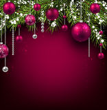 Christmas background. With fir branches and balls. Vector illustration Stock Images