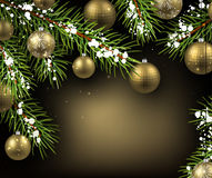 Christmas background. With fir branches and balls. Vector illustration Stock Image