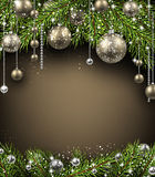 Christmas background. With fir branches and balls. Vector illustration Stock Photography