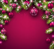 Christmas background. With fir branches and balls. Vector illustration Royalty Free Stock Image