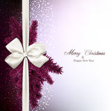 Christmas background with fir branches and baw. Magenta christmas background with fir twigs and gift bow. Vector illustration Royalty Free Stock Photos