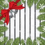 Christmas background with fir branches. Bells and snow flakes.Vector illustration Royalty Free Stock Photography