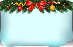 Christmas background with fir branches,bow and decoration. Vecto. R illustration Royalty Free Stock Photo