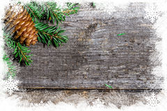 Christmas background with fir branches and bumps Stock Images