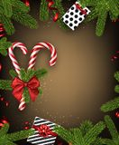 Christmas background with fir branches and candy. Christmas background with fir branches, gifts and candy. Vector top view illustration Royalty Free Stock Photos