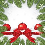 Christmas background with fir branches. Baubles and snow flakes.Vector illustration Stock Photos