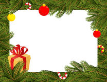 Christmas background. FIR branches and Christmas decorations.  Royalty Free Stock Photography