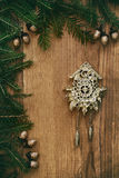 Christmas background with fir branches and Christmas decorations Stock Photo