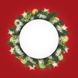 Christmas background with fir branches in a circle, the white balls, toys and shining stars. Round field for text. Can be used in flyers, sale productions Royalty Free Stock Images