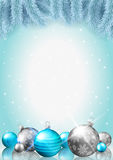 Christmas background, fir branches and colorful baubles royalty free illustration