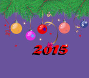 Christmas background with fir branches,. Colorful Christmas toys Stock Photo