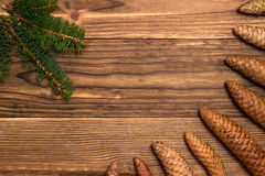 Christmas background with fir branches and cones Royalty Free Stock Image