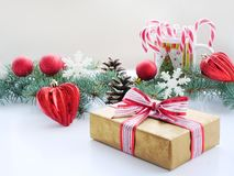 Christmas background with fir branches, decorations, gift royalty free stock photos