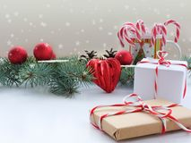 Christmas background with fir branches, decorations, gifts stock photography