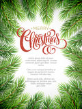 Christmas background with fir branches frame. Vector illustration EPS10 Stock Photography