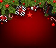 Christmas background with fir branches and gifts. Red Christmas background with fir branches, gifts and stars. Vector top view illustration Royalty Free Stock Photos