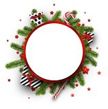 Christmas background with fir branches and gifts. Round Christmas background with fir branches, gifts and candy. Vector top view illustration Royalty Free Stock Photos