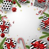 Christmas background with fir branches and gifts. White Christmas background with fir branches, gifts and candy. Vector top view illustration Stock Images