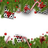 Christmas background with fir branches and gifts. White Christmas background with fir branches, gifts and candy. Vector top view illustration Royalty Free Stock Photography