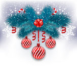 Christmas background with fir branches, glass balls and sweet ca Stock Images