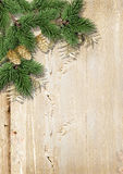 Christmas background with fir branches,gold pinecones on the vin Royalty Free Stock Image