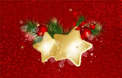 Christmas background with fir branches and gold stars with decorations. Vector illustration. Eps 10 Royalty Free Stock Images