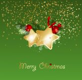 Christmas background with fir branches and gold stars with decorations. Vector illustration. Eps 10 Royalty Free Stock Photos