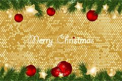 Christmas background with fir branches and gold stars with decorations. Vector illustration. Eps 10 Stock Photo