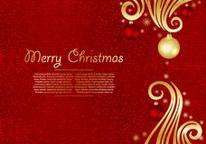 Christmas background with fir branches and gold stars with decorations. Vector illustration. Eps 10 Royalty Free Stock Image