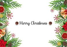 Christmas background with fir branches and golden bells Stock Photo