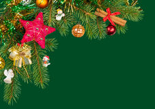 Christmas background. fir branches on green Stock Photo