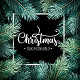 Fir Branches with Handwriting Lettering Stock Photos