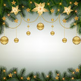 Christmas background with fir branches and ligh Stock Photo