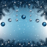 Christmas background with fir branches and ligh Royalty Free Stock Photo