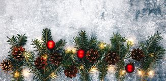 Christmas background. Fir branches,pine cone,toy and xmas lights Stock Photography