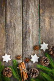 Christmas background with fir branches, pine cones, christmas royalty free stock photo