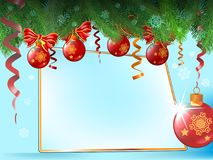 Christmas background with fir branches and red balls and card. Christmas background with fir branches and red balls and card on blue Stock Photography