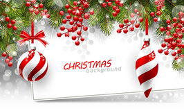 Christmas background with fir branches and red Stock Images