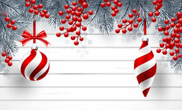 Christmas background with fir branches and red balls. With decorations.  Vector illustration Stock Photo