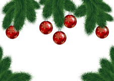 Christmas background with fir branches and red balls. Illustration of Christmas tree branches with red balls isolated Royalty Free Stock Photos