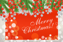 Christmas background with fir branches and red berries. The magi. C card. Vector illustration Royalty Free Stock Photos