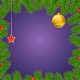 Christmas background with fir branches, red berries, New Year balls and star. Christmas background with fir branches, red viburnum berries, Christmas balls Stock Image