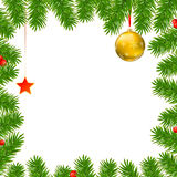 Christmas background with fir branches, red berries, New Year balls and star. Christmas background with fir branches, red viburnum berries, Christmas balls Royalty Free Stock Photos