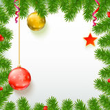 Christmas background with fir branches, red berries, New Year balls Stock Image