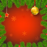 Christmas background with fir branches, red berries, New Year balls. Christmas background with fir branches, red viburnum berries, Christmas balls, beads, a red Stock Photos