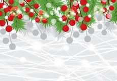 Christmas background with fir branches and red berries. New Year card. Vector. Illustration Royalty Free Stock Image
